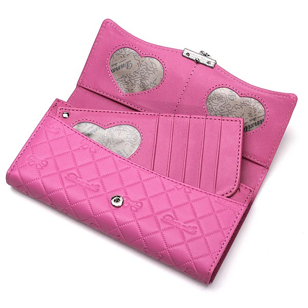 Handy Classical PU Leather Button Wallet Clutch Lady Long Handbag Women Wallet Rose Red