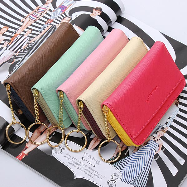 Women Short Card Holders Zipper Coin Purse PU Leather Key Wallet Cards Case