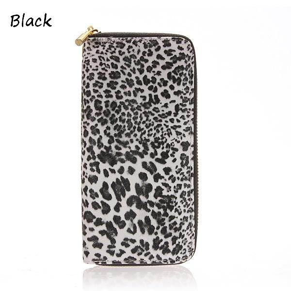 Women Leopard Print Wallet Zipper Card Holder Long Design Purses
