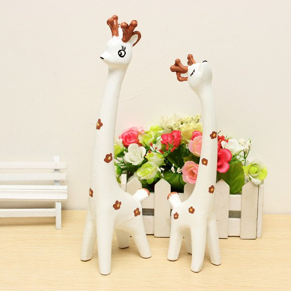 White Deer Lovers Decoration Cafe Shop Decoration&Birthday Gift - Photo: 3