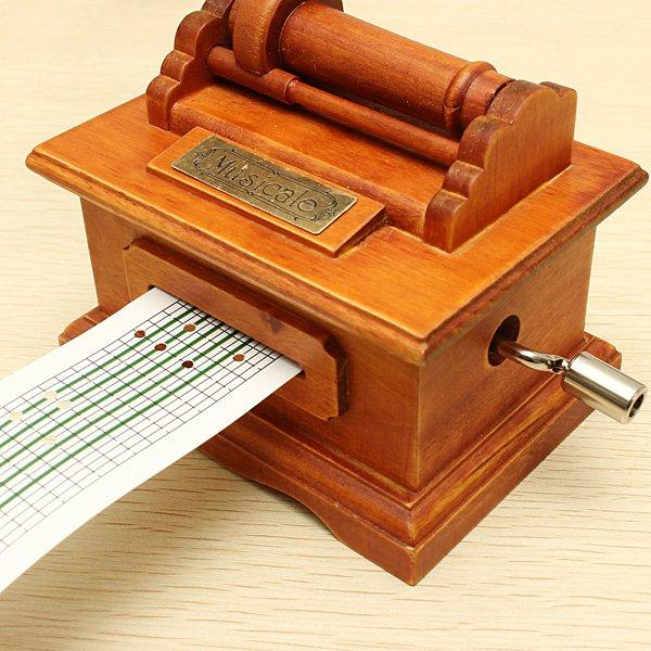 Nostalgic Retro Wooden Hand-Cranked Music Box With Paper Tape - Photo: 7