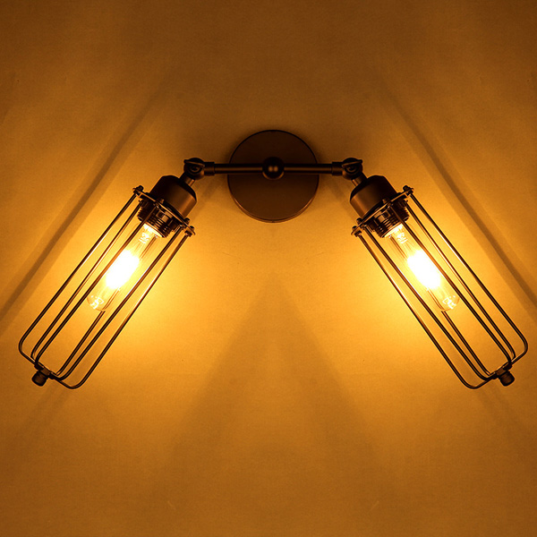 Classic Vintage French 55 Square Two Tier Brass Glass: Vintage 2 Heads Loft Iron Cages Wall Light Edison Country