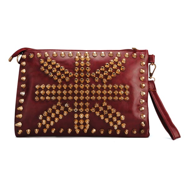Fashion Women Punk Style Rivets Clutch Bag Cross Body Bag