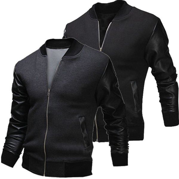 Mens Zipper PU Leather Stitching Slim Fit Baseball Coat Jacket at ...
