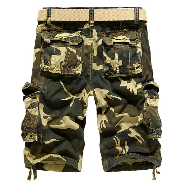 Men's Loose Fit Camo Multi-pocket Large Size Cargo Shorts - US$19.68