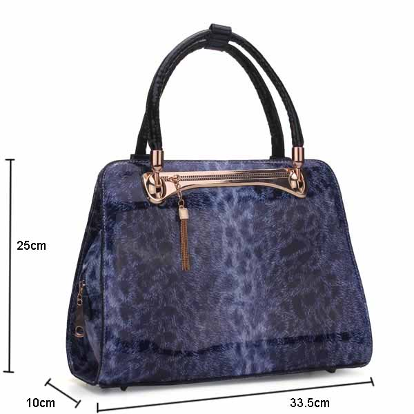 Women Glazed Leather Leopard Print Handbag Shoulder Bag