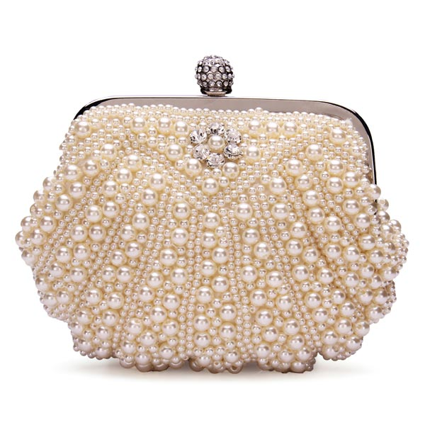 Fashion Lady Pearl Evening Party Clutch Bag Bride Bag Chain Bag