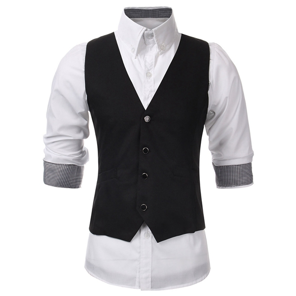 Mens V-neck Solid Casual Suit Vest Fashion Slim Fit Waistcoats at ...