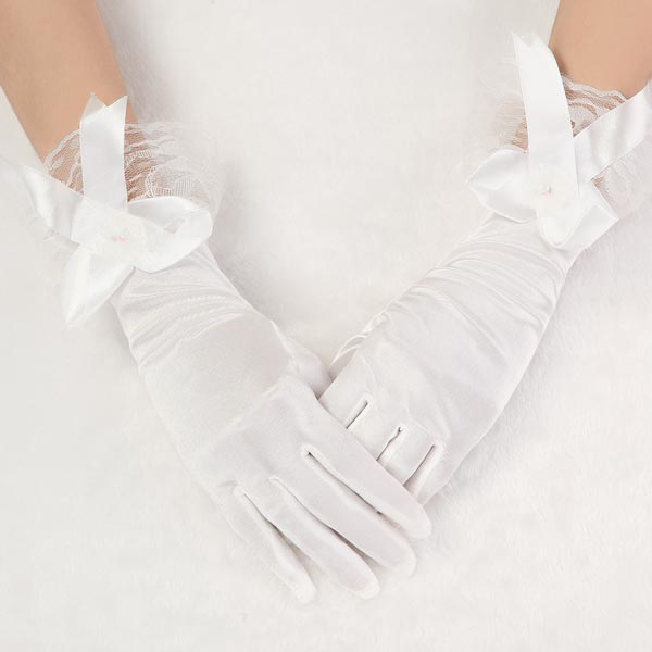 Style Bridal Beige Bow Satin Short Wedding Dress Gloves
