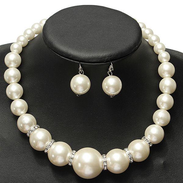 Image of Nozze di cristallo collana di perle da sposa insieme dei monili orecchini