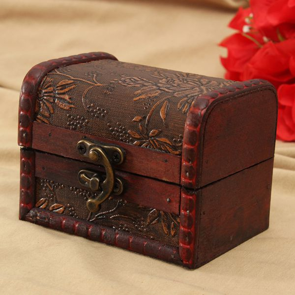 Buy Retro Printed Wooden Jewelry Storage Box Vintage Container Case