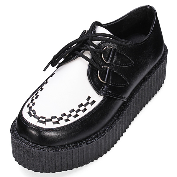 Buy Paltform Lace Up Ladies Flat Creepers Punk Goth Shoes