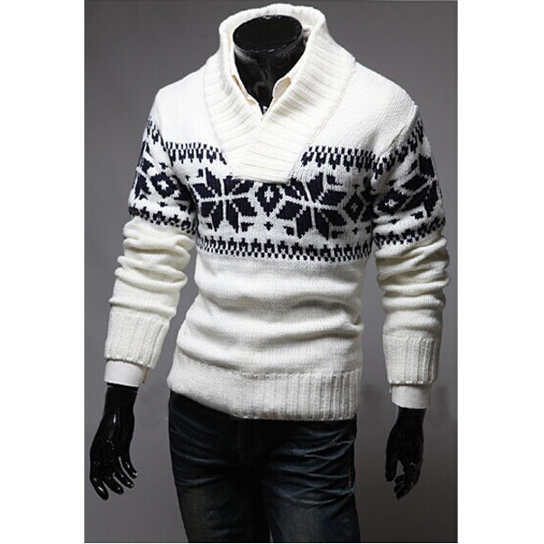 Christmas Mens Snowflake Turtleneck Pullover Thickening ...