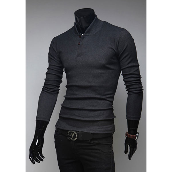 Mens Slim Fit Stand Collar Pullover Long Sleeve Knitted T-shirts ...