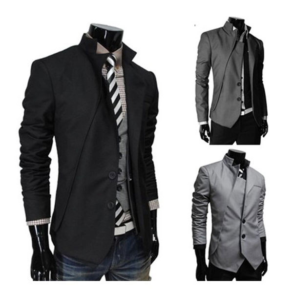Fashion Men's Slim Fit Casual Button Suit Coat Jacket Business ...