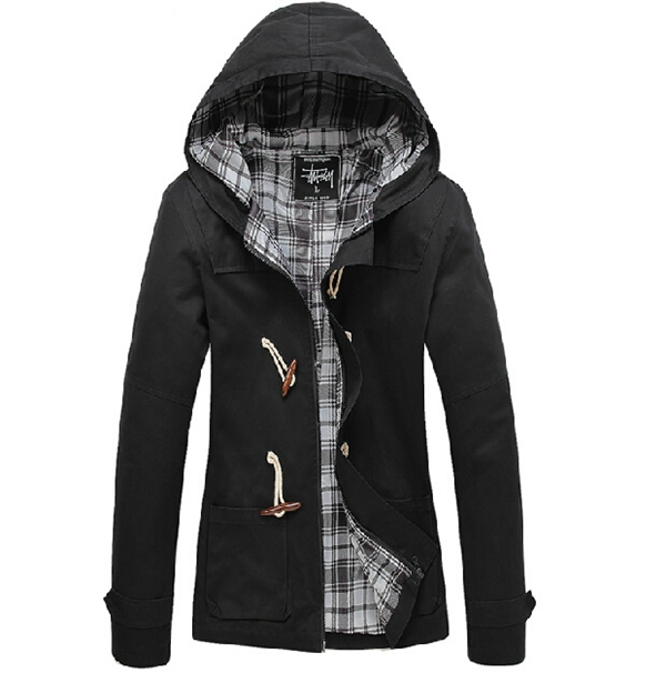 Men's Solid Casual Cotton Hooded Slim Fit Duffle Coat Jackets at ...