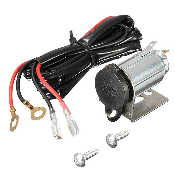12-24V Motorcycle Cigarette Lighter Metal Socket Outlet Plug