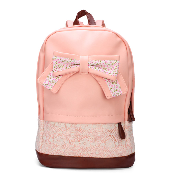 Women's PU Leather Schoolbag Lace Bow Backpack Sweet Girl Bookbag