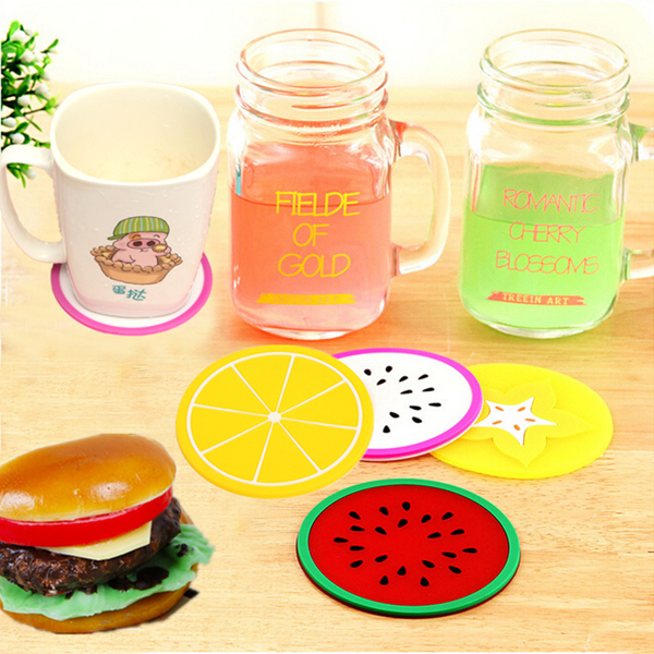 Silicone Fruit Shade Round Coasters Skidproof Cup Mat Table Decoration