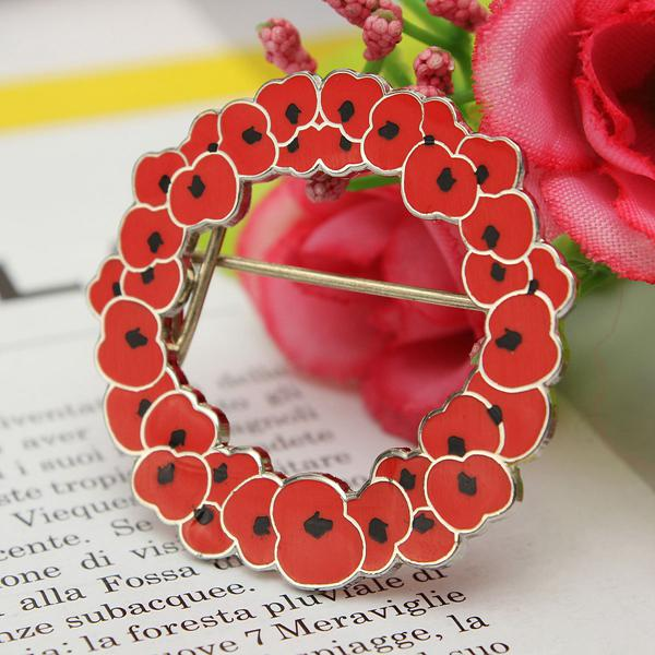 Poppy Red Flower Brooch Badge