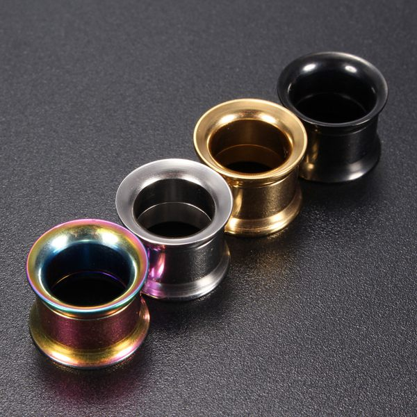 1pc Stainless Steel Flared Ear Plug Hollow Expander Tunnel Piercing