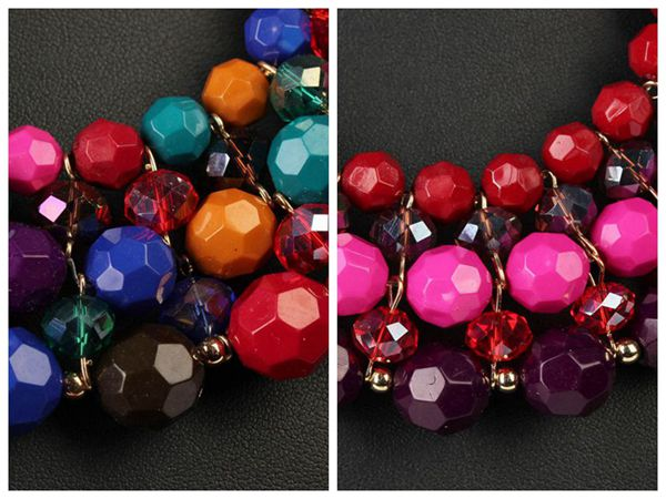 Multicolor Beads Necklace Earrings