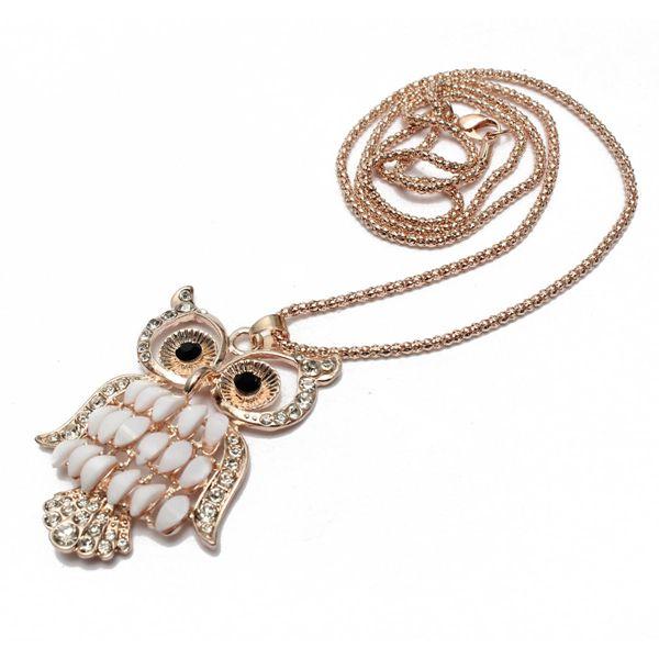 Rhinestone Gem Owl Pendant Necklace