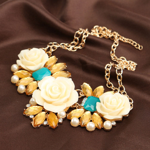 Bubble Resin Crystal Big Flower Statement Necklace Gold Plated Chain