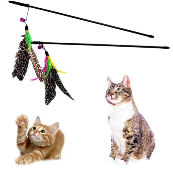 teasers animaux jouet pour chat plume teaser de plastique baguette de jouets avec cloche pour. Black Bedroom Furniture Sets. Home Design Ideas