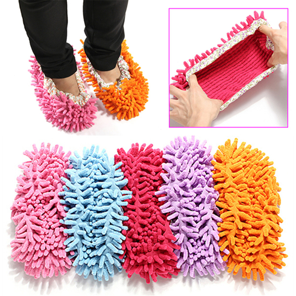 2pcs Multifunction Chenille Cleaning Mop Shoes Mophead
