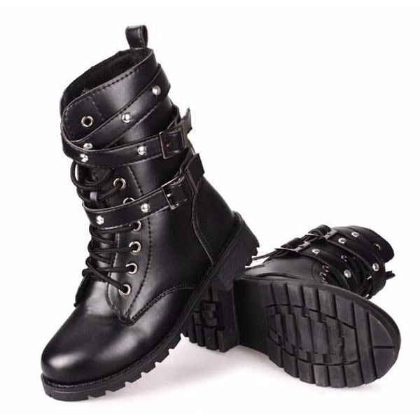 Motorcycle Boots Women Cool Goth Punk AnkleMilitary Lace-up Black ...