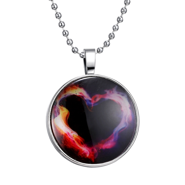Vintage Time Gemstone Heart Stainless Steel Chain Luminous Pendant Necklace