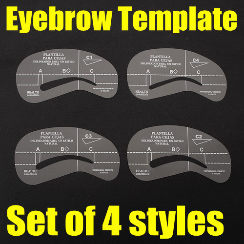 4 styles eyebrow stencil template make up shaping tool for Printable eyebrow stencil template