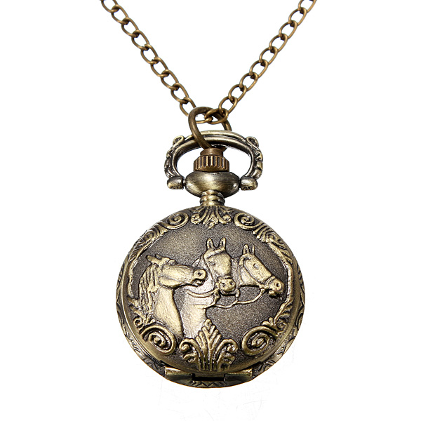 Buy Bronze 3 Horse Engrave Quartz Pocket Watch Necklace