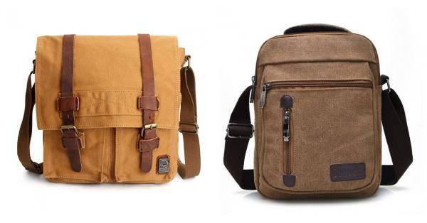 Buy Men Canvas Genuine Leather Casual Big Retro Travel Shoulder Crossbody Bag