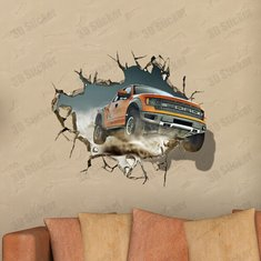 3D Off-Road Vehicle Decals Wall Hole Wall Art Stickers 27 Inch Removable Home Decor