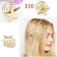 10Pcs Alloy Gold Star Swirl Spring Hair Pin Hairpin Clip Decoration