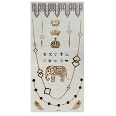 Crown Elephant Chain Gold Silver Metallic Temporary Tattoos Body Art Sticker