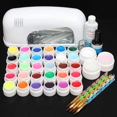 110V 9W 30 Color UV Gel Lamp Acrylic Manicure Nail Art Set Brush Cleanser