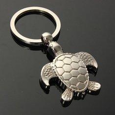Silver 3D Sea Turtle Model Keyring Metal Key Chain Gift