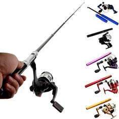 ZANLURE PFS-01 Mini Telescopic Portable Pocket Pen Shape Aluminum Alloy Fishing Rod Reel Line set