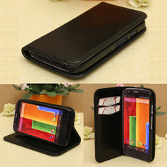 Flip PU Leather Wallet Hard Case Cover Stand For Motorola Moto G