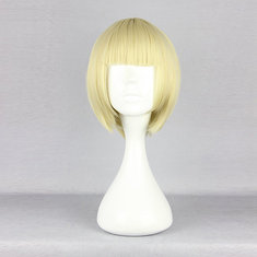 Harajuku Pale Gold Full Bang Short Synthetic Fiber High Temperature Cosplay Wig Anime Costume Hair