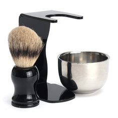 3 in 1 Mens Shaving Kits Badger Hairbrush + Stand + Stainless Steel Bowl Set