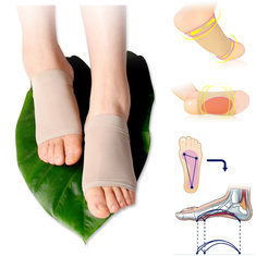 Silicone Gel Fallen Arch Support Cushion Flatfoot Orthotic Pronation Plantar Pain Relief Pads Socks