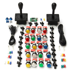 Arcade DIY Kit 2 HAPP Style Joysticks 20 LED Buttons 2 Player USB Encoder