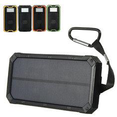 8000mAh Солнечная Водонепроницаемый портативное зарядное устройство Dual USB Батарея банк питания