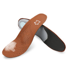 1Pair Full Length Foot Orthotic Shoe Insoles Insert Leather Arch Support Pads