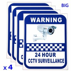 4xCCTV Camera Warning Stickers Surveillance Vinyl Decal Video Security Sign New