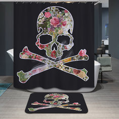 180x200cm Halloween Flower Skull Polyester Shower Curtain Bathroom Decor with 12 Hooks